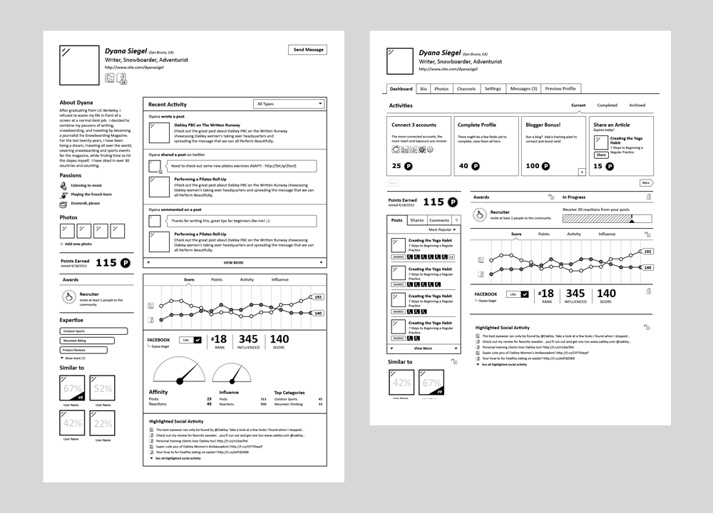 Profile Wireframes